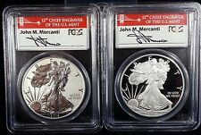 2012 S Silver Eagle Proof 75th Anniversary 2 Coin Set PCGS PR 70 Mercanti