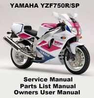 YAMAHA YZF750 Owners Workshop Service Repair Parts Manual PDF on CD-R YZF 750 SP