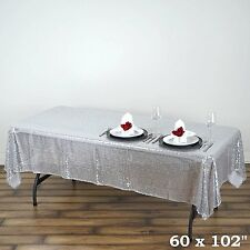 "60x102"" Sequin RECTANGULAR Tablecloth - Silver"
