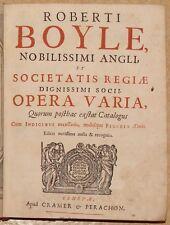 BOYLE. OPERA VARIA. 1680-1696. 6 VOLUMES. MEDECINE. PHYSIQUE. CHIMIE. ALCHIMIE.