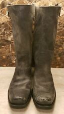 Frye Heath Outside Zip Black Distressed Mens Zip Up Rugged Boots  #87654 Size 9D