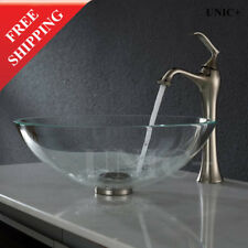 Luxury Bathroom Clear Glass round Vessel Sink, Bathroom Glass Sink bowl, BVG008