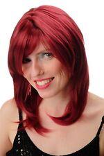 Perruque pour Femmes Rouge Grenat Longue Jusqu'aux Épaules Lisse Complexe Raie