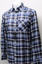 New Mens SMALL Horst long sleeve blue plaid casual cotton sport shirt