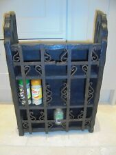Vintage French black wooden wall cupboard, shelves, cabinet, wrought iron doors