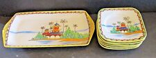 7 Pc Nippon Pagoda Decorated Porcelain Tray W/ 6 Matching Plates Set Vintage HP