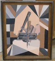 Vintage cubist oil/canvas,WI artist Joyce Ohlgart 16 x 20