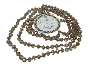 Rose Gold Glass Beaded NECKLACE 60 Inch Knotted Faceted Layering Layers