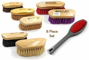 8pc Horse Grooming Brush Set Equestrian Cleaning Brushes Wooden Body Flick Dandy