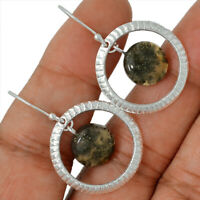 Pyrite In Agate 925 Sterling Silver Earrings Jewelry AE79616 17V