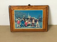 Vintage Walt Disney World Mickey Mouse Photo Mounted Lacquered Wooden Plaque