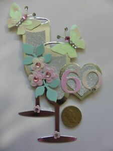 3 Ladies pink pearl 40 50 & 60th Champagne birthday handmade card toppers