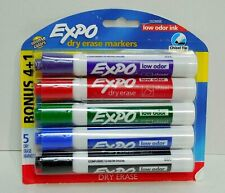 Expo Low Odor Dry Erase Markers Chisel Tips Assorted Colors 4 1 Bonus Pack