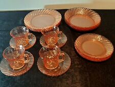 Beautiful 20 Pcs. Elegant Collectable PINK Glass Complete Dinner Service for 4