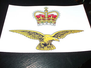 THE ROYAL AIR FORCE EAGLE CROWN BADGE CREST STICKER 7X5 INCH..