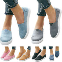 Women Casual Comfort Canvas Shoes Plimsolls Flats Slip On Loafers Walk Sneakers