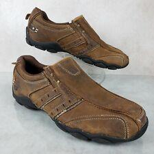 Skechers Diameter Heisman Brown Leather Slip On Cushioned Comfort Shoes Men's 7