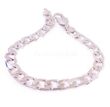 fashion1uk Chain Link Classic Bracelet White Gold Plated 22cm