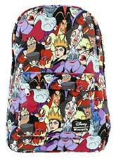 Disney Villains Backpack Loungefly Book Bag School All Over Print Full Size NEW