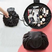Black Portable Round Magic Drawstring Storage Bag Travel Cosmetic Organizer Bags