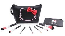 Finex Hello Kitty Black PU Leather Cosmetic Bag + Makeup Brushes SET in Tin Box