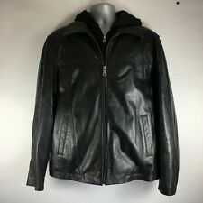 Tommy Hilfiger Hooded Genuine Leather Motorcycle Jacket / Coat Black Mens Size L