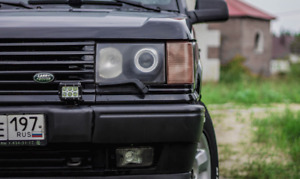 Range Rover Series II P38a Polycarbonate Headlight Covers for retrofit, pair.