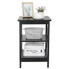 End Table Sofa Side Storage Shelf Living Room Bedroom Furniture X-Design Black