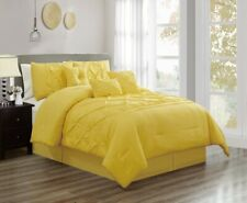 7Pc King Solid Yellow Double-Needle Stitch Puckered Pinch Pleat Comforter Set