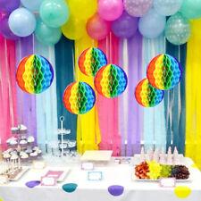 Rainbow Honeycomb Pom Pom Paper Flower Ball Garland Birthday Wedding Decoration