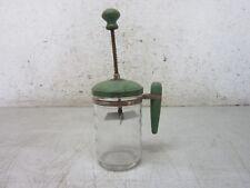 Vintage Atlas Glass Food Chopper Green Metal Top w/ Wood Handle