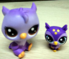 2pcs Littlest Pet Shop LPS Owl Oona Owler Num & Baby Purple Figure Toys