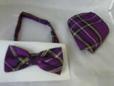 < DD>TARTAN Purple Polyester Bow tie and Hankie Set >>Many More Patterns in SHOP