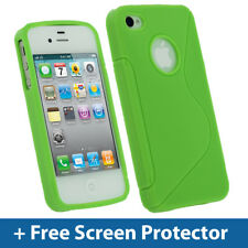VERDE TPU Gel Custodia per Apple iPhone 4 HD & 4S 16GB 32GB 64GB Cover PELLE HOLDER