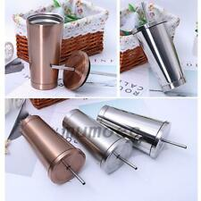 Stainless Steel Travel Mug Tumbler Coffee Cup with Lid & Drinking Straw 3 Colors