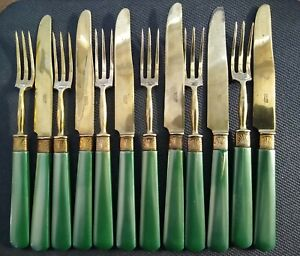Vintage Art Deco Buelon France Green Bakelite And Brass Pastry Fork And Knives