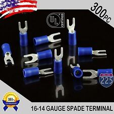 300 Pack 16 14 Gauge Vinyl Spade Fork Crimp Terminals 6 Stud Tin Copper Core Ul