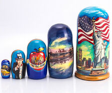 Russian Nesting Doll Matryoshka Hand Painted New York Statue Liberty Yellow Cab