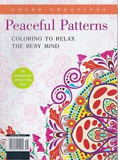 COLOR CREATIVES MAGAZINE 2016 PEACEFUL PATTERNS - ADULT COLORING - FREE SHIP