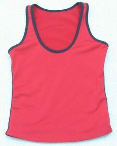 Marika Red Black Athletic Tank Top T-Shirt Small Woman Tee Polyester Lycra Women