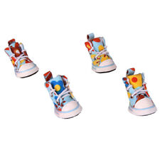 Pet Dog Blue Casual Protective Shoes Sneakers Colorful Flower Anti-Slip Size 4