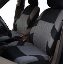 2 Piece Black with Grey Washable Car Truck Front Seat & Removable Headrest Cover