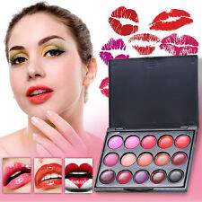 15 Color Long Lasting Lip Gloss Lipstick Palette Lipgloss Makeup Cosmetic Set SG