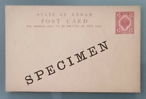Malaya KEDAH stationery specimen post card 3 c. unused mint cover, tree