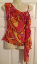 Ladies beautiful floaty orange silk  top by NAUGHTY designer Size 8 small  NEW