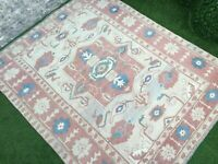 6'5''x8'2'' Vintage Turkish Large Rug,Antique Ushak Carpet,Room Size Oushak Rug