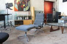 HERMAN MILLER EAMES ALUMINUM GROUP VINTAGE SOFT PAD LOUNGE CHAIR w/ OTTO