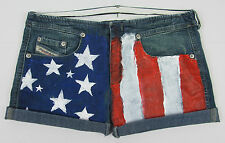 Womens Diesel jean shorts Stripp American Flag painted jorts Italy Size 26