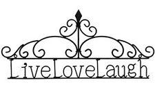 "22 1/2"" W. Mahogany Live, Love, Laugh Metal Wall Decor Wall Pediment Garden Art"