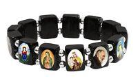 Saints Bracelet, Black Wood Beads Catholic Religious Icons Silver Tone Spacer